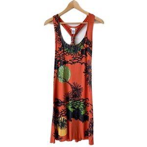 🌞 Tropical Orange Tank Dress Sequin & Yarn Detail